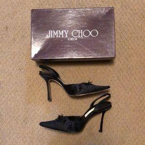 JIMMY CHOO THAMES SZ 8 SATIN BEADED SHOES